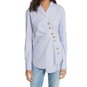 Tibi Shirt 6 Blue Jones Striped Button Front